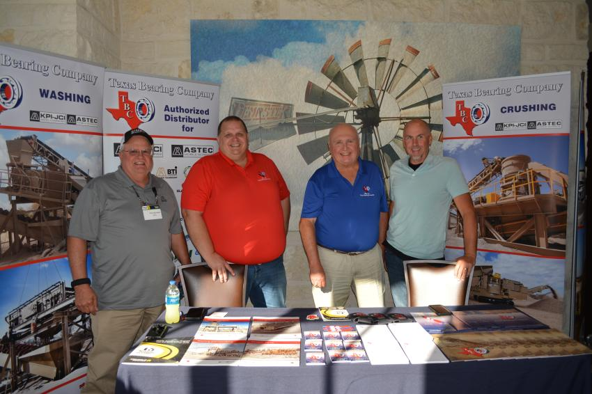 Texas Bearing Company of Amarillo displayed its KPI-JCI and Astec lines of crushing, washing and screening equipment.  Shown (L-R) are Paul Michaels of Astec, Scott Byers, Walt Wooten and Eric Prim of Texas Bearing.