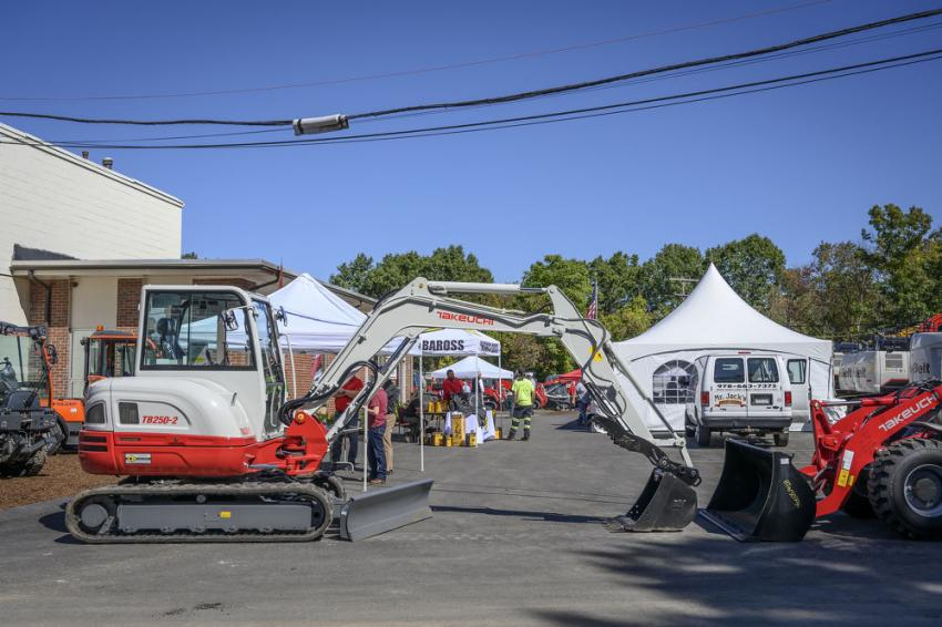On display at the entrance of the 90th anniversary celebration hosted by the Chelmsford, Mass., location is the Takeuchi TB-250-2 compact excavator.