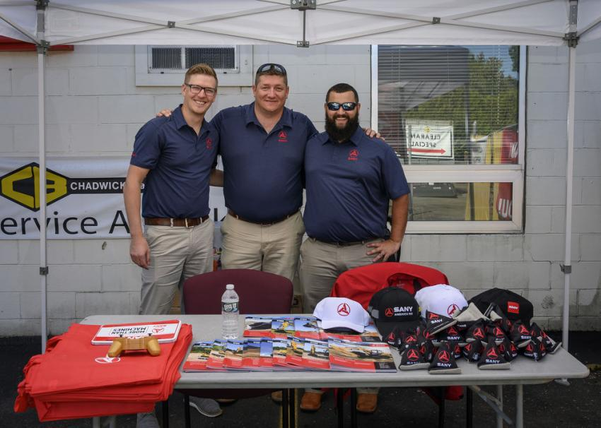 (L-R): Ben Miller, director of sales; Dean Heistand, director of national accounts; and Joe Duplessis, district sales manager, at SANY's information tent.