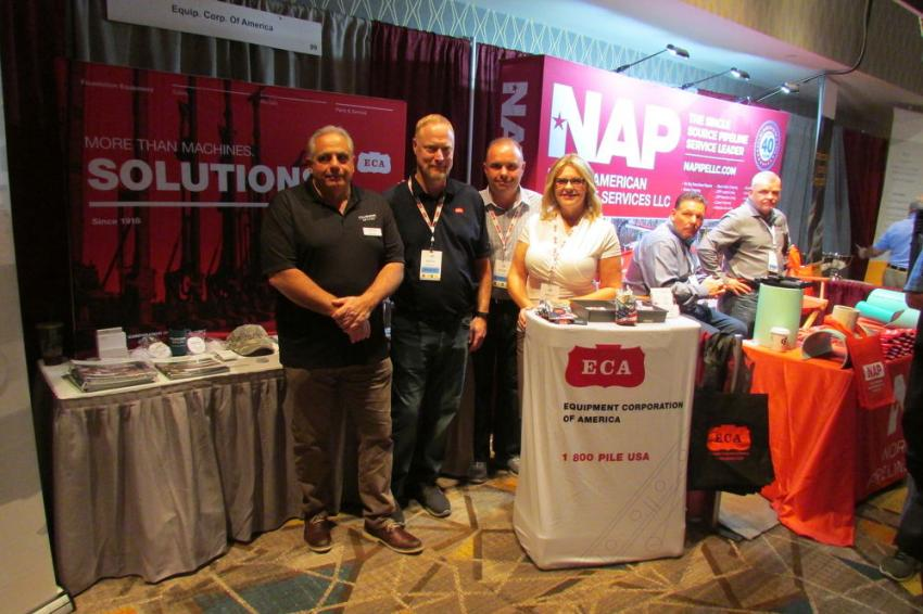 At the Equipment Corporation of America (ECA) booth (L-R) are Patrick Lanni, district sales manager of Nucor Skyline; and Keith Meitzler, Steve Sigmind and Kelly Simon, all of ECA.