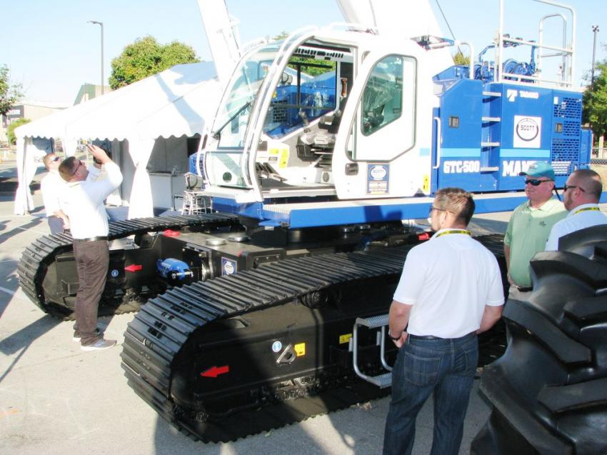 Lots of interest at the Tadano exhibit, which featured the new Mantis GTC-500 crane with auger on the second stage of the boom.