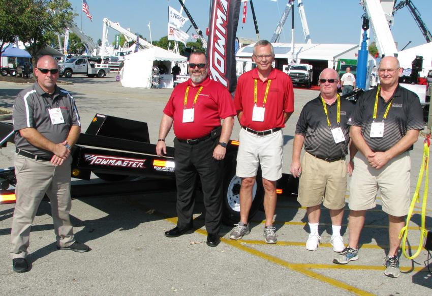 Exhibiting trucks and trailers in its exhibit space, Towmaster and its parent company, Monroe Truck Equipment, had plenty of key staffers to promote its product offerings including (L-R) Russ Woelke, Bob Pace, Dan Nommensen, Rick Clark and Hal Acree.