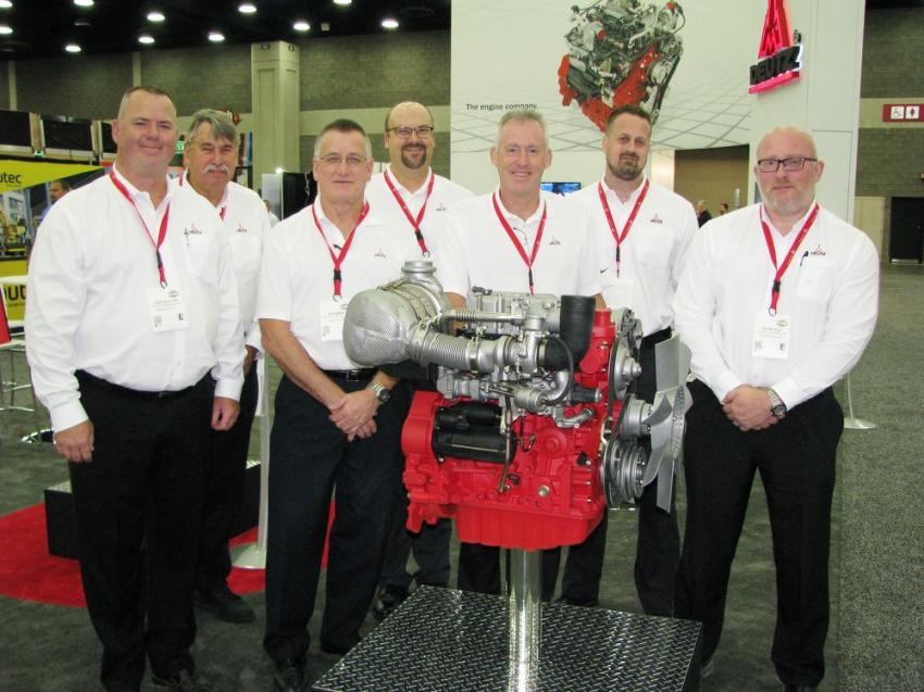 The Deutz display had a couple new engines being introduced including the first built Deutz TCD 2.2 L3 75 hp (@2600 rpm) engine. Showing its product offerings at ICUEE are (L-R) John Dutcher, Alec Hurley, Robert Mann, John Chowaniak, Steve Corley, Thomas Miller and Gavin Hale.