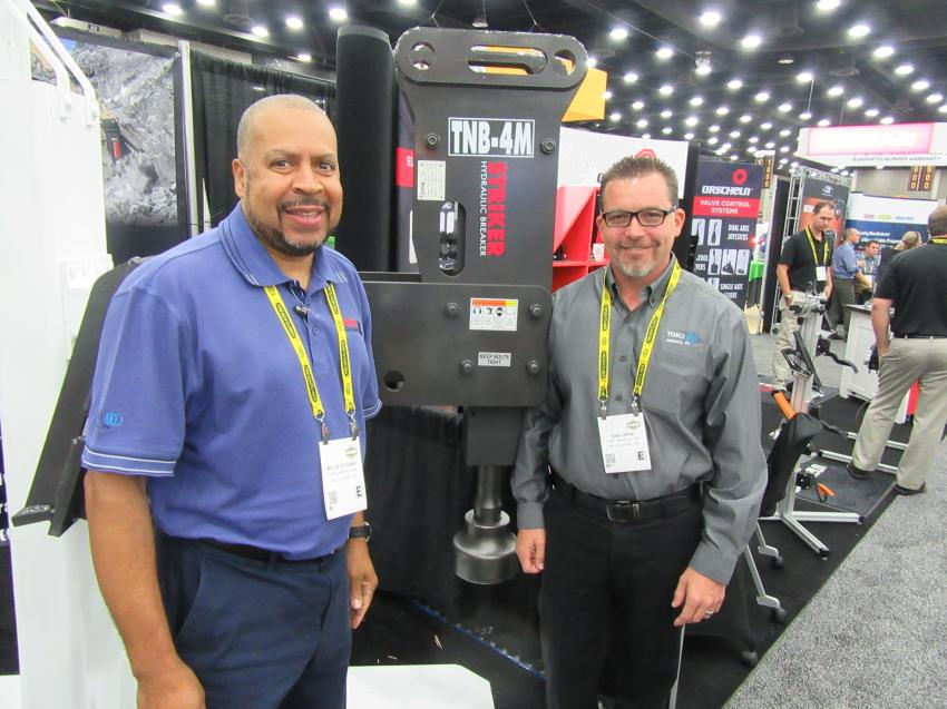 Toku America's Willie Studway (L) and Dan Crow showcased the company's recently introduced TNB-4M post pounder at the ICUEE show.
