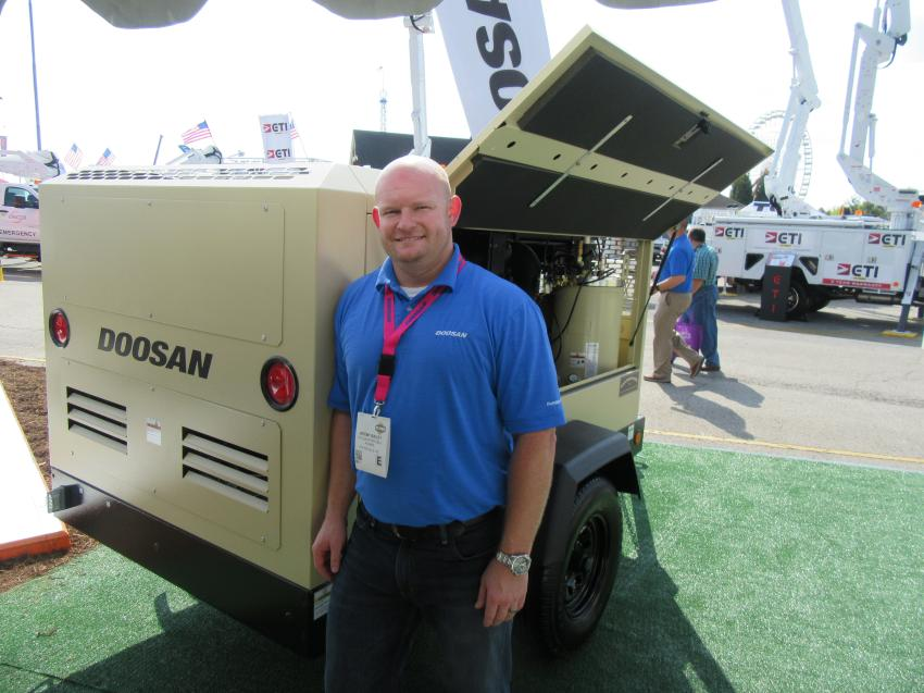 Jeremy Bailey of Doosan Portable Power was ready to discuss the company's HP450/VHP400 air compressor with an all-new drive train