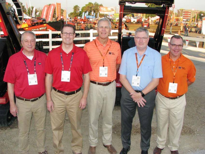 TORO and Charles Machine Works Inc. (Ditch Witch) kicked off ICUEE with a press conference providing an update on the merger of the two companies with key staff members including (L-R) Neil Borenstein, Peter Moeller, Dennis Wierzbicki, Rick Rodier and Shan Kirtley.