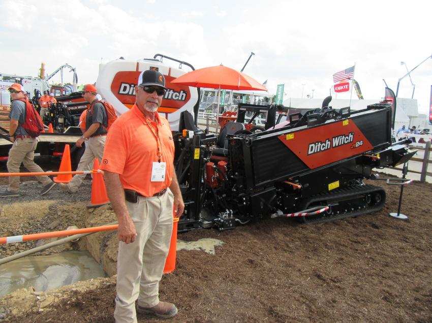 At the Ditch Witch outdoor equipment display and demo area, Larry Kindschi was on hand to discuss the company's new compact and powerful JT24 horizontal directional drill.