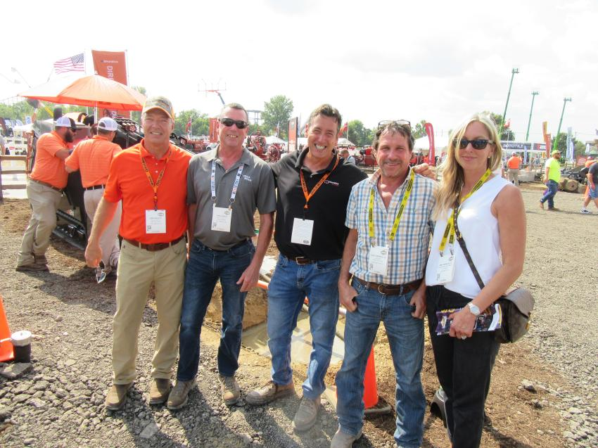 (L-R): At the Ditch Witch outdoor equipment display and demo area, Ditch Witch Mid-States' Sam Swartz, Dan Durkin and Matt DiIorio joined David Herrholtz of Ligonier Construction and Amy Herrholtz of Blacklick Equipment and Sales to review the latest equipment from Ditch Witch.