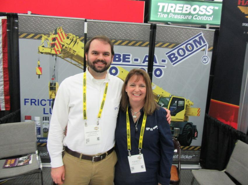 Lube-a-Boom's Jonathon and Jo Roberts were ready to discuss the company's line of specialty lubricants for a variety of equipment and applications including telescoping boom cranes, aerial lifts, telehandlers and forklifts.