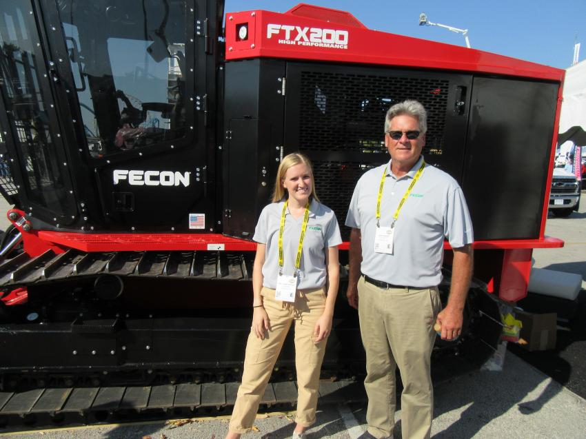 (L-R): Emily Rentschler and Bob Candee were ready to discuss the latest addition to Fecon's lineup of forestry mulchers, the all new Stage-5 compliant FTX200 mulching tractor.