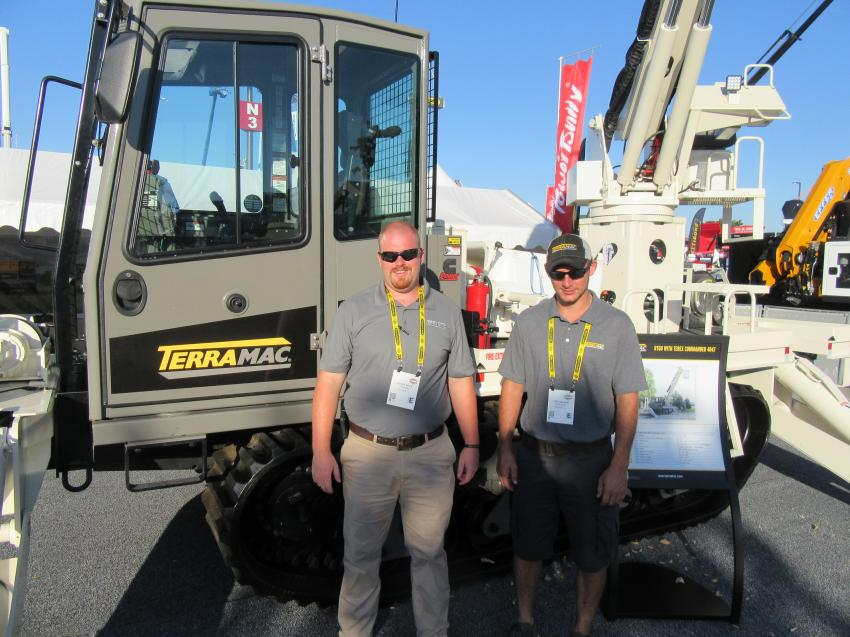 Terramac's Chris Keys (L) and Andy Banas were ready to discuss the company's RT6U crawler carrier, here equipped with a Terex Commander 4047 digger derrick.