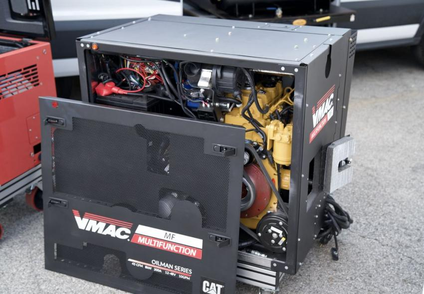 The VMAC Multifunction Power System, powered by a Cat industrial diesel Tier 4F engine, includes six power sources in one compact, quiet system. With noise reduction panels, low and high idle controls and standby mode, operators can safely communicate while working without disturbing the job site or the neighbors.