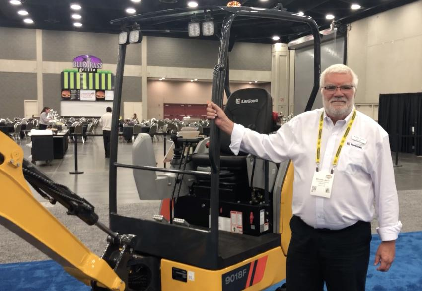 Michael Watt of LiuGong touts the benefits of the new LiuGong 9018F compact excavator that is powered by a Yanmar engine.