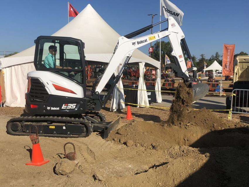 The Bobcat E35 is ideally sized for working in tight urban areas.