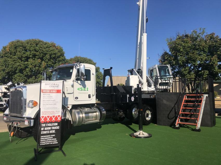 This National Crane boom truck with 152 ft. of boom and 205 ft. of Jib was provided by the northeast's own Stephenson Equipment.