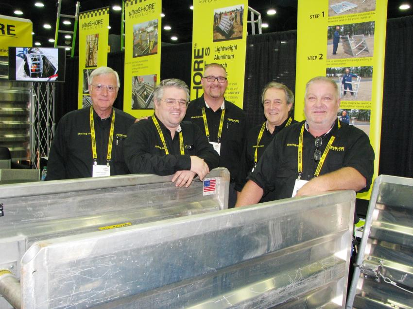 Trench Plate Rental Company had a great product display and a host of representatives with decades of experience to discuss the latest company news and product innovations including (L-R) Gary Hooks, Grant Lamberson, Jeff Vojko, Keith Lamberson and Wayne Agamie.