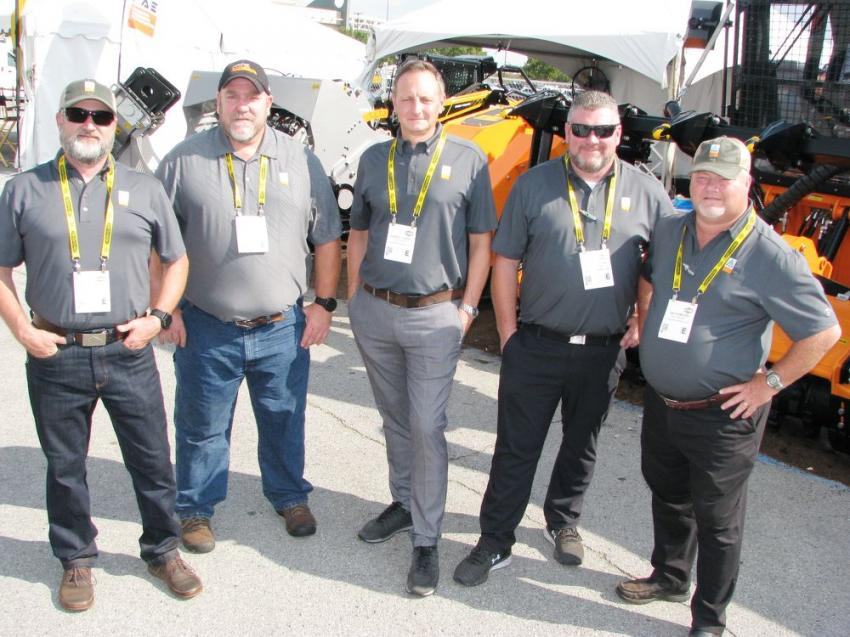 FAE USA had both an indoor and outdoor exhibit to accommodate various product displays. Some of the outdoor exhibit guys included (L-R) Allen Tennis, Lee Smith, Giorgio Carrera, Chad Florian and Jim Thompson.