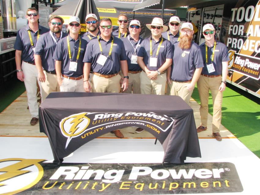The Ring Power Utility Equipment outdoor display was staffed by about a dozen representatives showcasing equipment such as Vac-Con excavators, Vac-Con Mudslingers, Terex TC55 bucket trucks and various other products on display in both the Terex Corporation and Brooks Brothers Trailers exhibits.