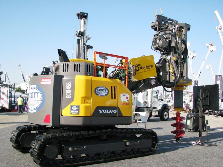 Scott Powerline and Utility Equipment had machines scattered around the show, including this slick looking combo of a Volvo ECR145EL crawler with a Bay Shore Systems drill unit