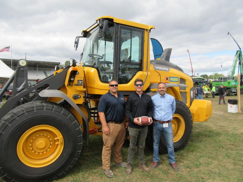 (L-R): Rudd Equipment Company's Jordan Flege and Taylor Dunifon were joined by Volvo Product Specialist Bryan Donatelli to talk about the dealership's lineup of Volvo equipment.