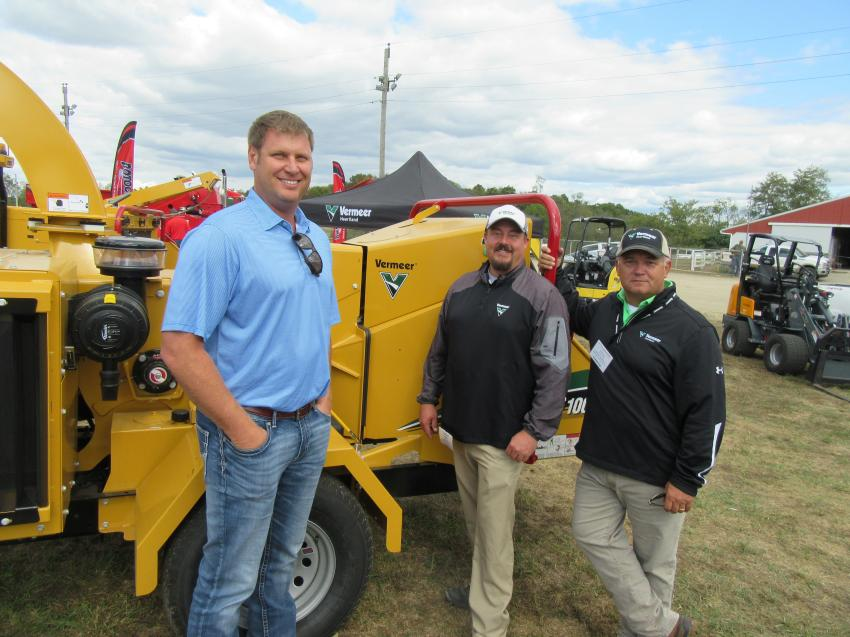 (L-R): Vermeer Heartland's Craig Butts, Casey Bentz and George Jones showcased Vermeer's line of forestry equipment.