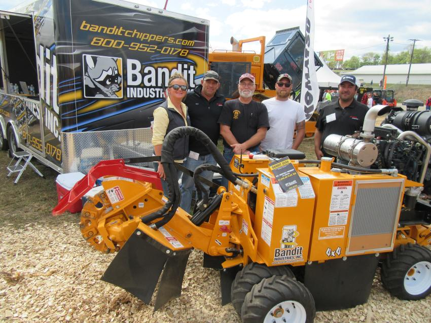 (L-R): Bethany Lenahan of Bandit Industries; Brad Watkins of Ohio Bandit dealer, Bobcat Enterprises, spoke with Jeff and Zack Heavner of Heavner Stump Removal and David Sarrey of Bobcat Enterprises at the show.
