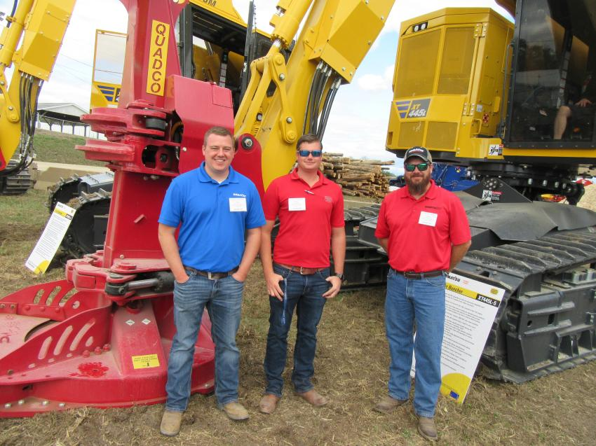 (L-R): Columbus Equipment Company's Cory VanHouten and Brain Brasser joined Komatsu Forest Division Customer Support Manager Steve Schraeder to discuss the company's lineup of equipment geared for the forestry industry.