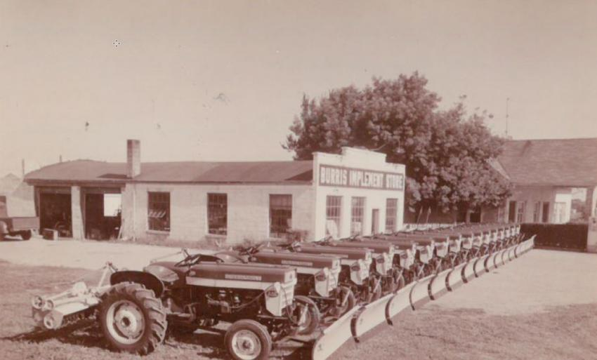 Burris Implement specialized in farm and agricultural equipment in the 1950s.