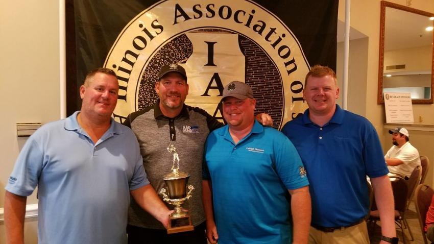 Also shooting a 59 on the WeaverRidge course, the second-place trophy went to (L-R) Steve Novak of Hanson Material Service; Jimmy Johnson of Advantage Industrial Systems; Blake Donahue and Tim Theobald of Hanson Material Service.