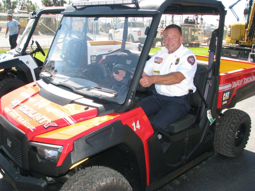 To help with medical response, Thompson Tractor presented Chief Mark Bowen of Bay County Fire and Rescue with a new Cat CUV82 during the event.