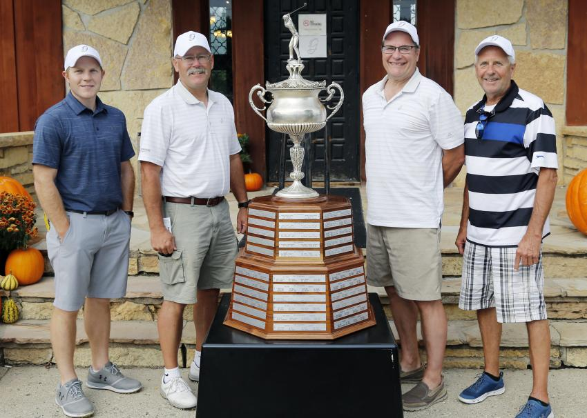 The Odebolt course champions (L-R) were Blake Driskell of Gerdan Slipforming Inc.; Dale Knuth of Concept Sales Inc.; Chris Kipp of Turck Inc.; and Tim Potts of Graham Construction Inc.