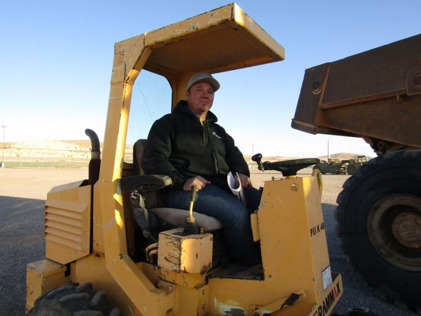 Chris Woods of Prime Excavation, Mesquite, Nev., came to the auction not only looking to purchase some additional equipment, but also hoping to get a good return on this 2006 Rammax vibratory padfoot compactor he put up for sale.