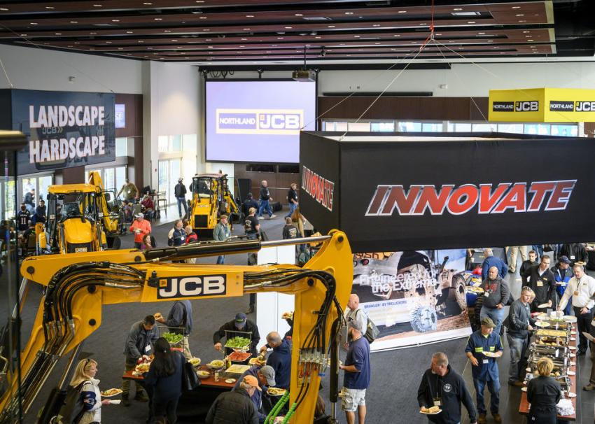 A birds-eye view from the balcony of the Cross Pavillion of Northland JCB's Innovate 2019