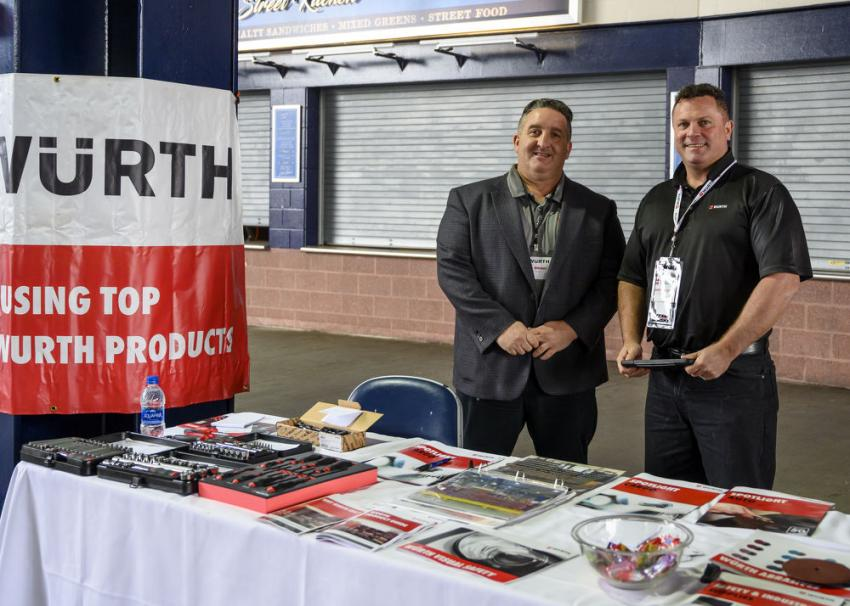 """Würth's vendor station was set up toward the entrance of the mezzanine with Brian Othmer (L), district manager, and Jamie Spugnardi, territory sales manager, who were ready to answer questions. Othmer said, """"We specialize in helping customers manage their inventory to work more efficiently, be more productive and help them make money and save money."""""""