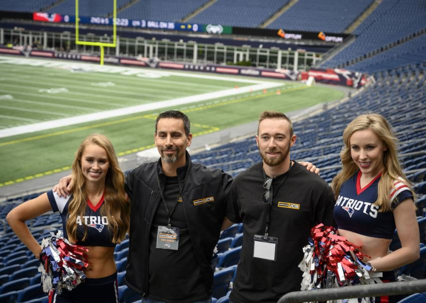 (L-R): Morgan D., Chris Jackson and Patrick Maclean, both of Northland JCB, and Ashley D. overlook the field.