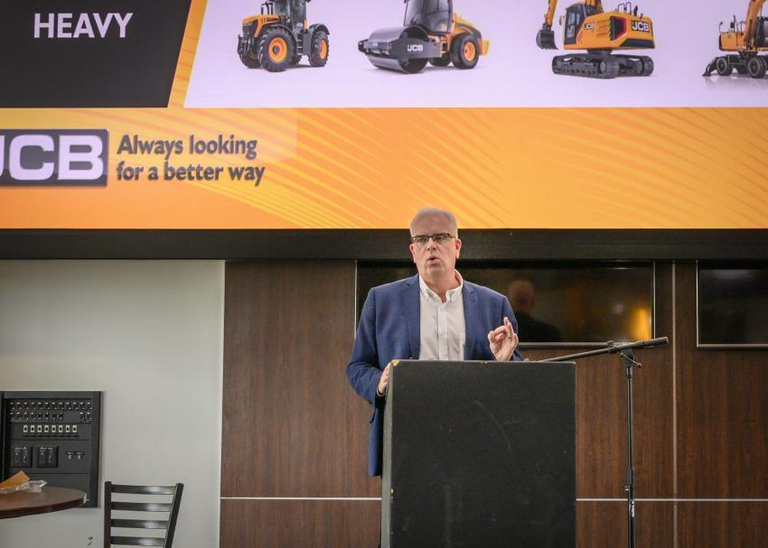 Keynote speaker, Mick Mohan, managing director, backhoe loader of JCB, speaks about JCB's role in global growth and change.