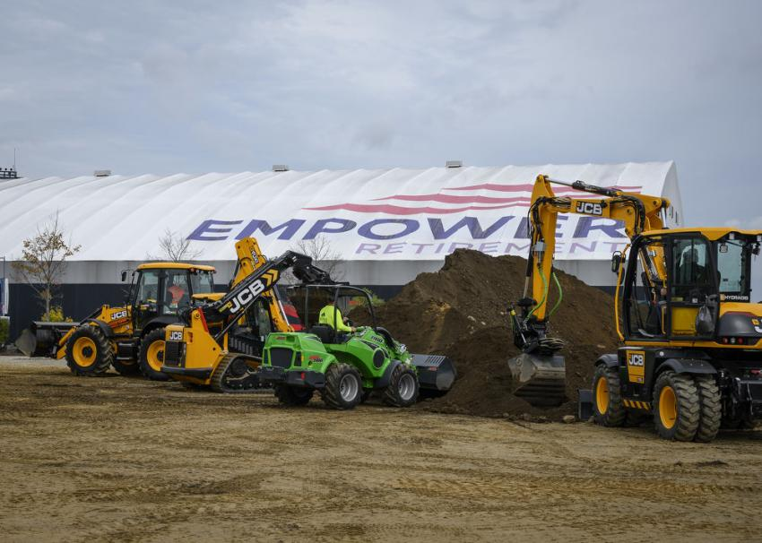 JCB and Avant machines being tested out at the highly anticipated demo area located outside of Gillette Stadium.