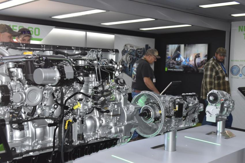 One of the show-stoppers was this walk-through display from Detroit Diesel, which shows actual cutaways of their engines and major drive components.