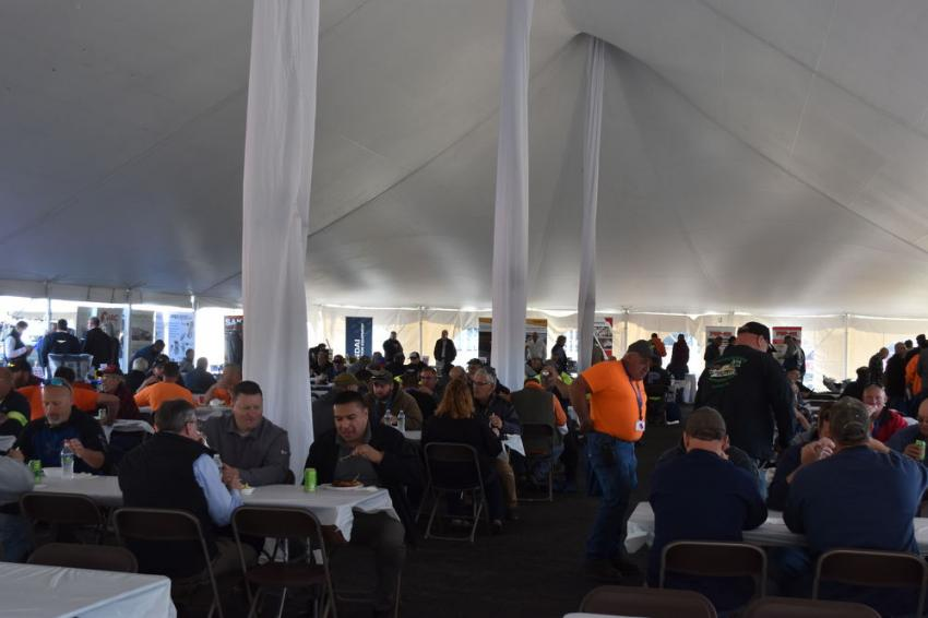 A massive crowd of Tracey Road Equipment customers from one end of the state to the other gathered under the big top to enjoy refreshments and comradery.