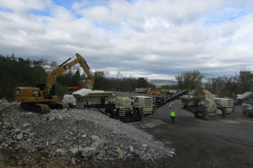 The impressive equipment spread included a Caterpillar 323 excavator loading shot rock (limestone) into a Metso Lokotrak LT106 jaw crusher with a setting of 4 in., which was then conveyed to a Metso LT1213 impact crusher with a closed side setting of 2 in., which was then fed to two Barford R6536TR track conveyors.