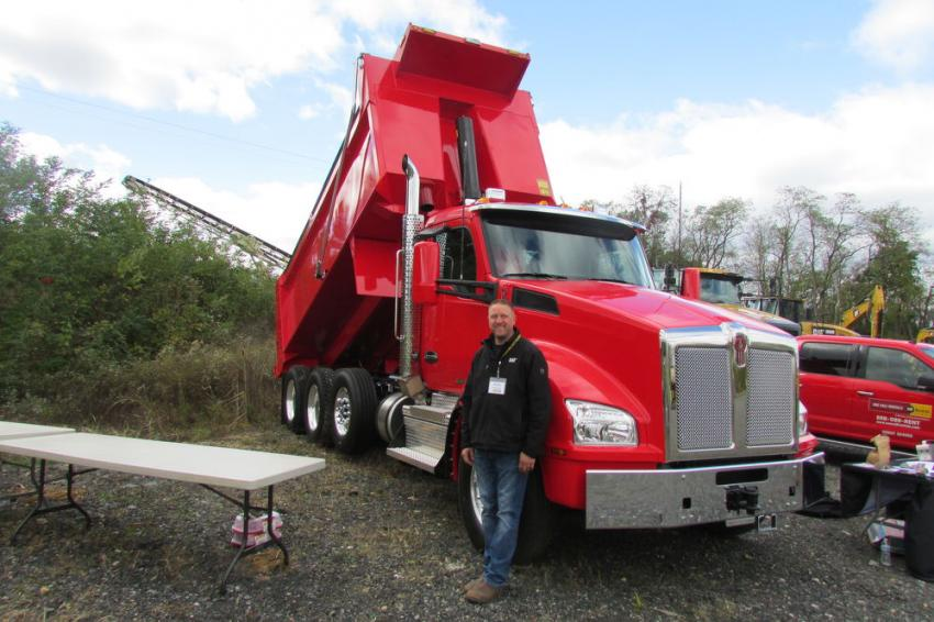 Andy Porterfield of Cleveland Brothers is ready to talk about this Kenworth T880 with 17.6-ft. Bibeau dump body, which Cleveland Brothers installed. The company does all makes, models and sizes up to 20-ft. body sizes.