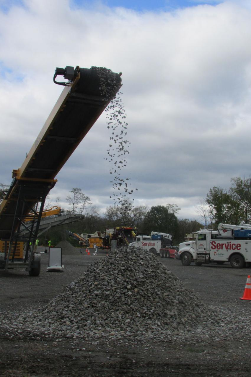 A Barford R6536TR track conveyor stockpiles 3-in. product during the demo.