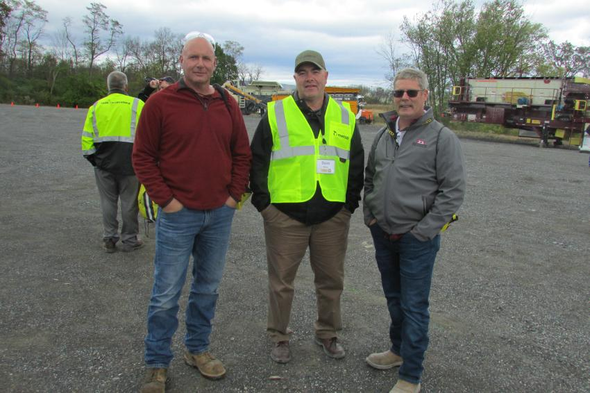(L-R): Steve Knowles, portable crushing, Glen O. Hawbaker; Dave Rhoa, Cleveland Brothers, CB-Con-Agg; Tom Spellman, manager, quarries and hot mix plants for Pa. materials operations, New Enterprise Stone & Lime, Chambersburg, Pa.