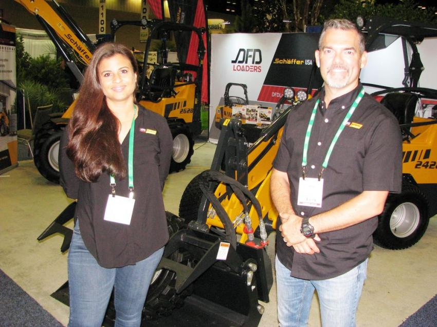 For their second year at the show, Rachel Boutet (L) and David Font of DFD Loaders Inc., Coral Springs, Fla., continue to promote their compact loader line to the landscape industry.