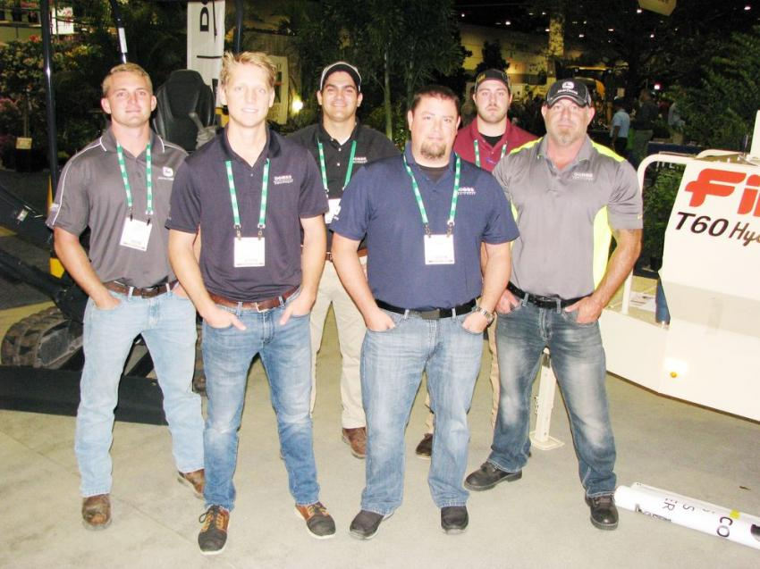 (L-R): Austin Wilson, Lucas Heiken, Paulo Carlini, Peter Rudolf, Braiden Cardinal and Brad Hudson, all of Dobbs Equipment, brought out some John Deere mini-machines and a Finn hydroseeder to showcase.