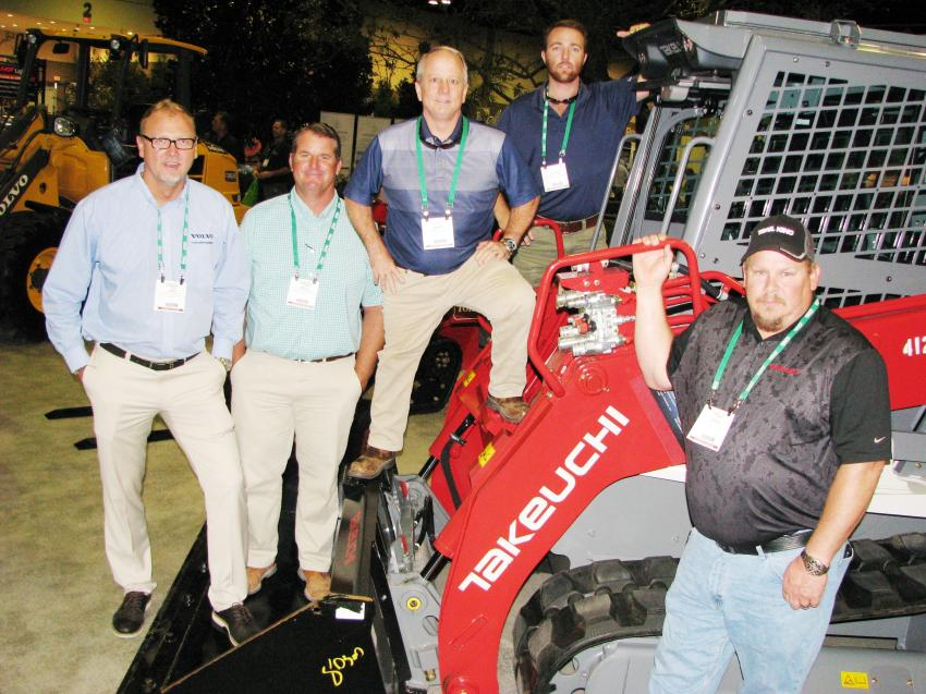 Promoting their Volvo and Takeuchi machines at the show (L-R) are Flagler Construction Equipment's Josh McDonald, Erich Sperber, Jared Powell, Saint Currin and David Willis.