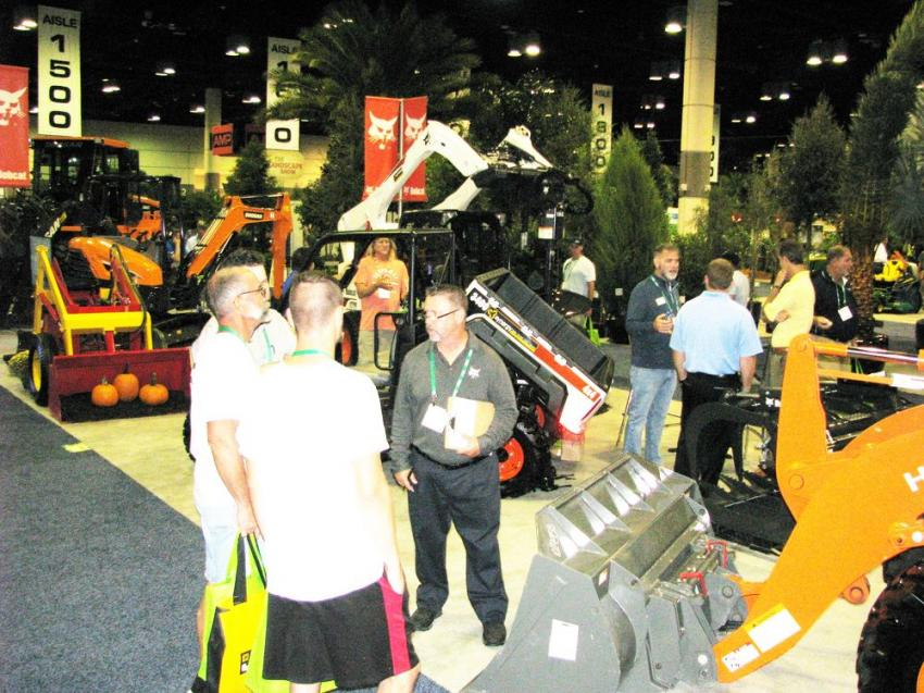 Synergy Equipment always puts together the largest machine display at the show and packs in some of its machine offerings, including Bobcat/Doosan models and others