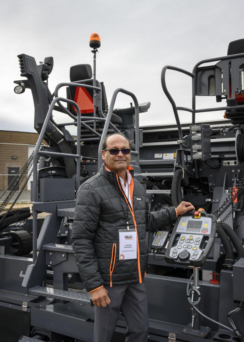 Laikram Narsingh, manager of commercial support and development of the Wirtgen Group, was available to teach customers about his company's miller, roller and paver machines.