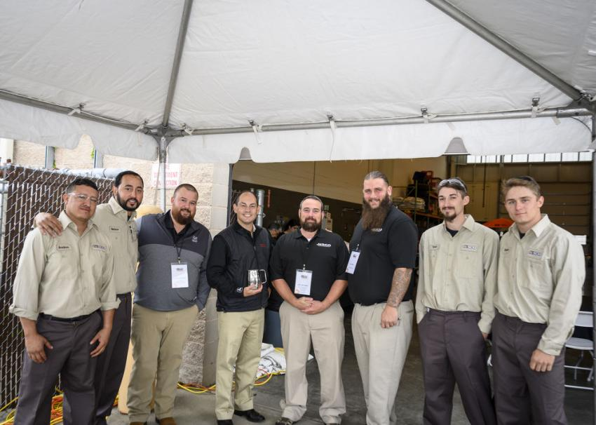 (L-R): Andres Zuluaga, Nelson Gonzolez, James Townsend, Jon Robustelli, Jeff Laflamme, Jay Trinca, Tyler Tancredi and Dylan Zuk gather next to the dessert truck.