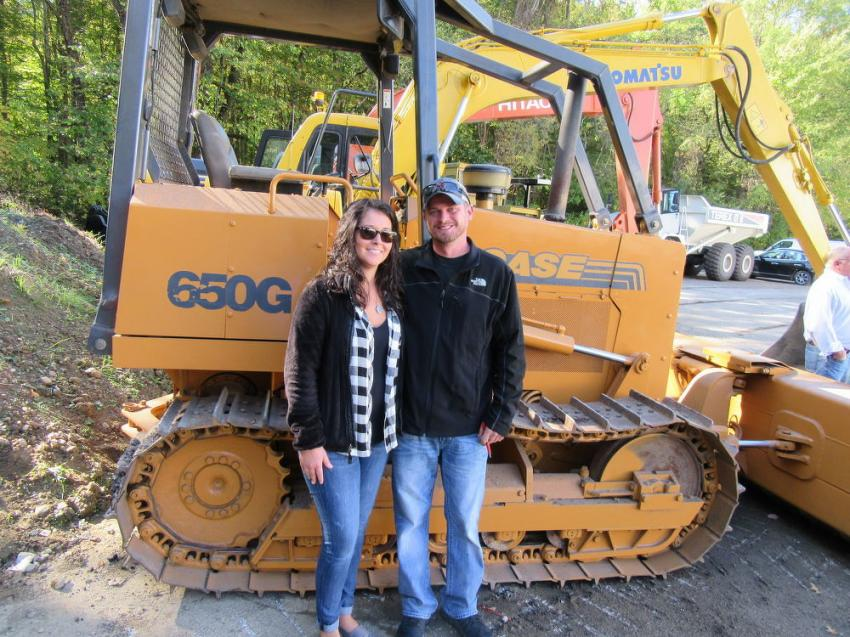 Tiara and James Combs of Combs Trucking came in from Lost Creek, Ky., with hopes of taking the winning bid on this Case 650G dozer.